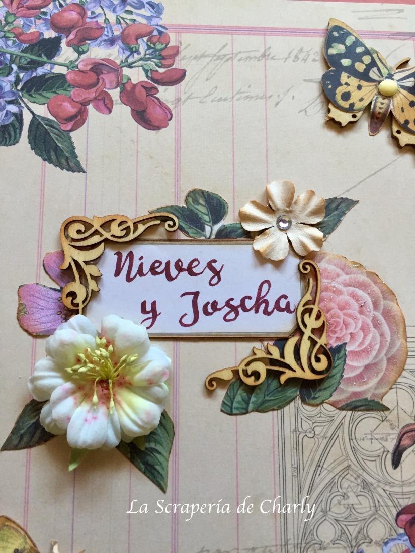 Frame con nombres de los novios y decoración con motivos florales.