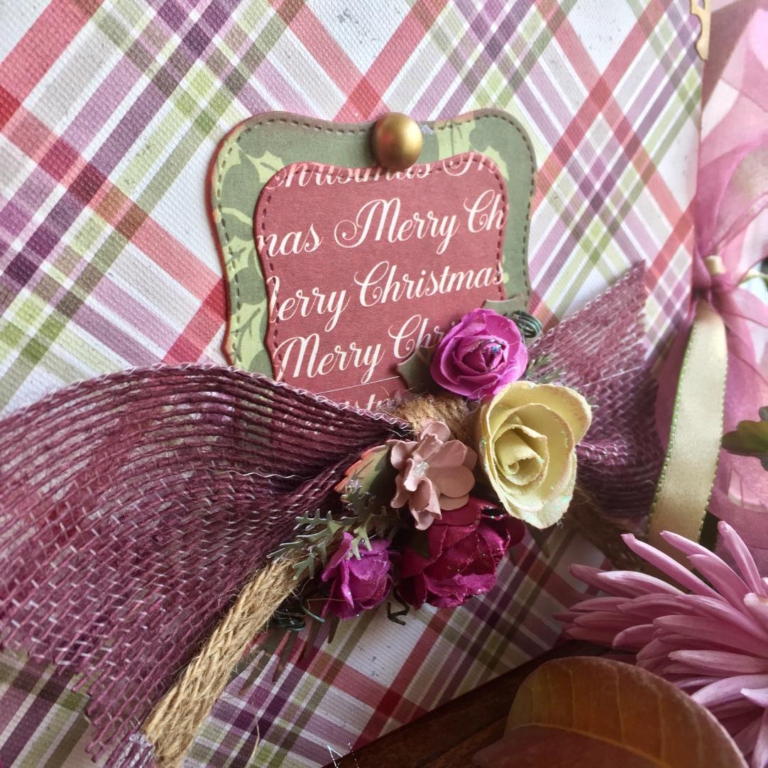 Portada de mini álbum con bouquet de flores y rafia
