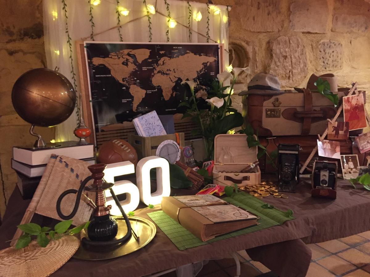 """Mesa de firmas temática para fiesta de cumpleaños """"Viajeros por el mundo"""""""