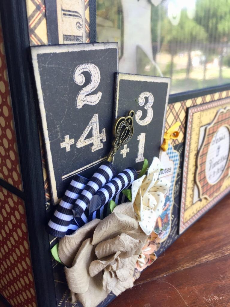 Decorado para caja con papeles de la colección ABC premier de Graphic 45